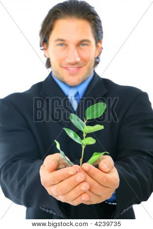 Green Young Businessman