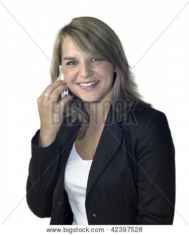 Smiling Girl With Mobile Phone On Ear