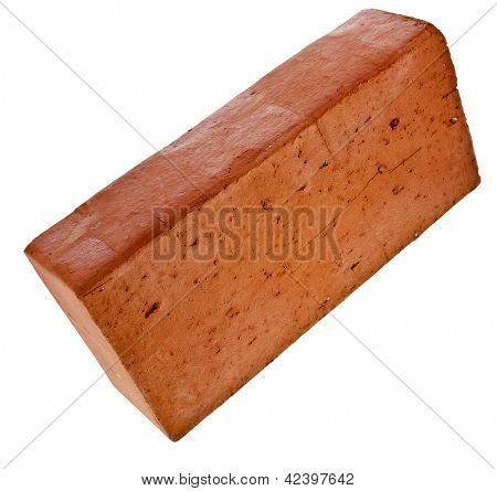 single red brick isolated on white background
