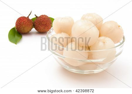 Peeled Lichees In A Glass Cup