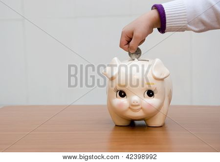 Piggybank Hands Boy