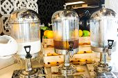stock photo of banquette  - Fruit juice on buffet table - JPG