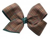 Brown plaid ribbon bow