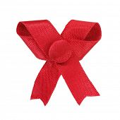 Red ribbon bow with button
