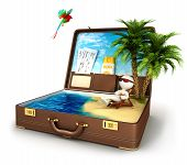image of tropical birds  - 3d white people in a suitcase paradise - JPG