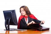 picture of superwoman  - Superwoman worker working in office - JPG