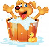 stock photo of washtub  - Vector illustration of cute dog bathing time - JPG