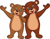 foto of waving hands  - Bear couple cartoon waving hands isolated on white - JPG