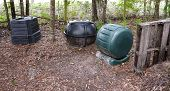stock photo of tumbler  - Three styles of compost bins - JPG