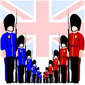 image of guardsmen  - The national flag of the United Kingdom - JPG