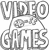 picture of obese children  - Doodle style video games sports illustration - JPG