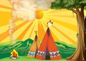 picture of teepee tent  - Illustration of tents in the woods - JPG