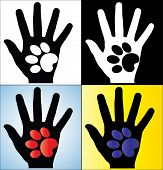 stock photo of painted toes  - Concept Illustration of Human Hand Silhouette holding a paw of a Dog or a Cat - JPG
