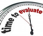 picture of quiz  - The words Time to Evaluate on an ornate white clock - JPG