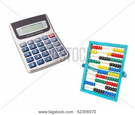 Comparison Of Classical And Contemporary Abacus Vintage Calculator. On A White Background.