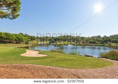 Sports Park For A Game Of Golf. With The Lake And Fountain.