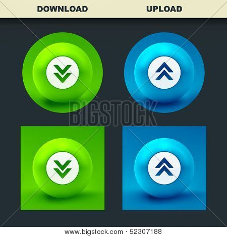 Download and upload buttons. Vector set for web.