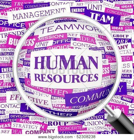 HUMAN RESOURCES. Background concept wordcloud illustration. Print concept word cloud. Graphic collage with related tags and terms. Vector illustration.