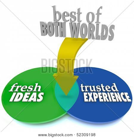 The Best of Both Worlds on a venn diagram with intersecting overlapping circles and the words Fresh Ideas and Trusted Experience to help you pick the ideal service provider or candidate