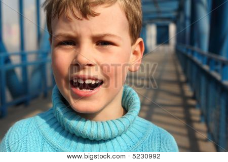 Shouting Boy On Bridge