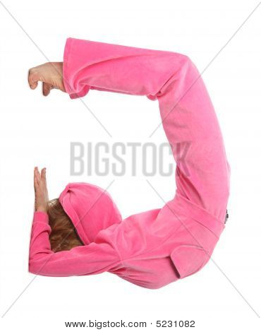 Girl In Pink Clothes Represents  Letter G
