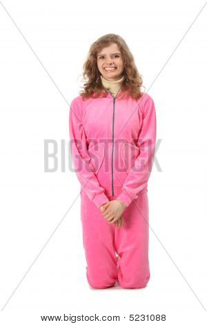 Girl In Pink Clothes Represents  Letter I