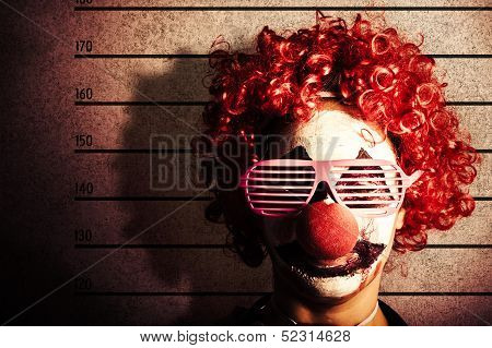 Clown Criminal Mug Shot Photo Id On Police Lines