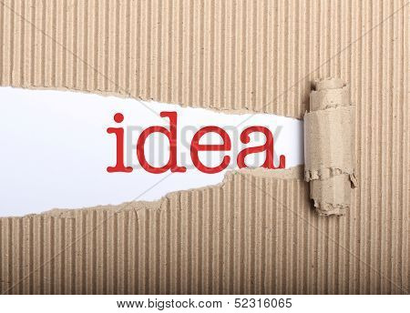 Idea Text On Paper And Torn Cardbox