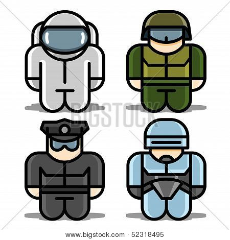 Set of toy icons. Astronaut, Robot, Soldier, Policeman.
