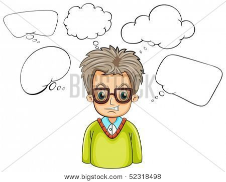 Illustration of an angry businessman with many callouts on a white background