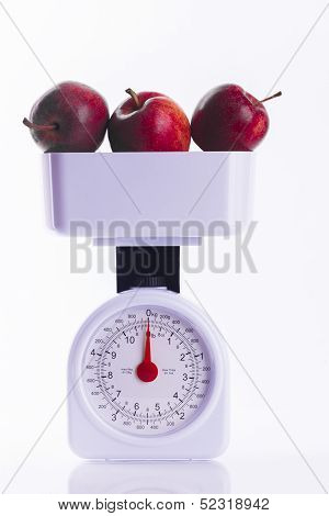 Three Red Apples On Weighing Scales
