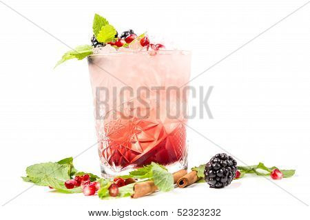 Coctail With Ice, Berrys And Mint