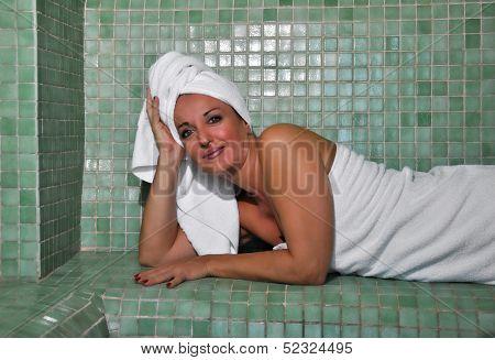 Woman Sitting In A Turkish Bath