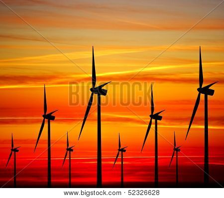 Windturbines at sunset