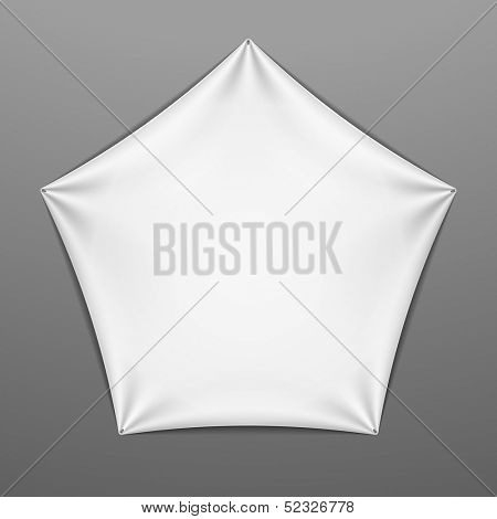 White stretched pentagonal shape with folds. Vector.