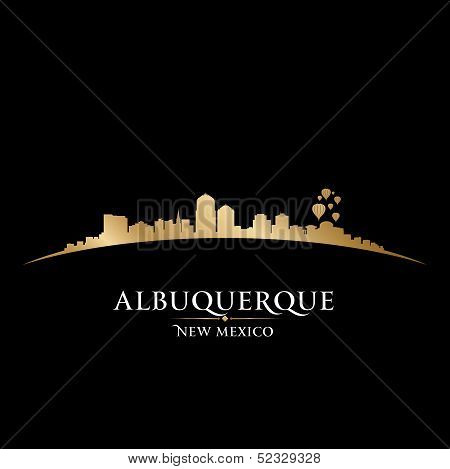 Albuquerque New Mexico City Skyline Silhouette Black Background