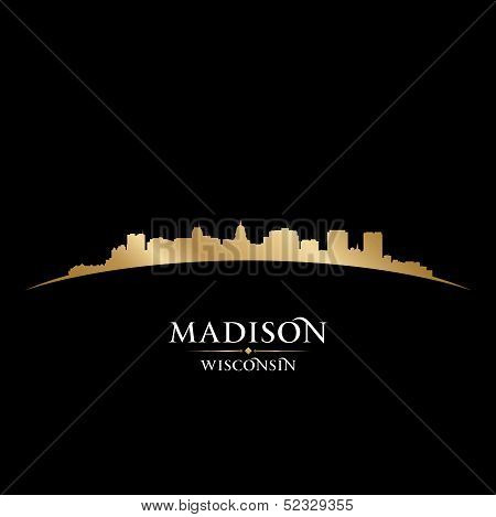 Madison Wisconsin City Silhouette Black Background