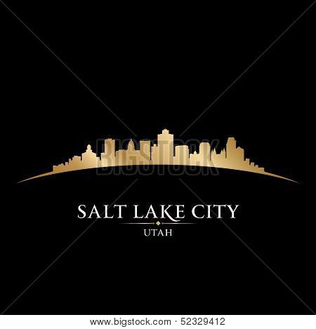 Salt Lake City Utah Silhouette Black Background