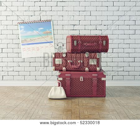 vintage baggage, waiting for the flight time. concept