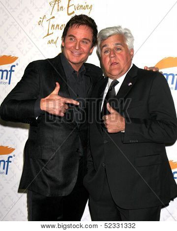 LOS ANGELES - OCT 13:  Jeff Trachta, Jay Leno at the 10th Alfred Mann Foundation Gala at Robinson-May Lot on October 13, 2013 in Beverly Hills, CA