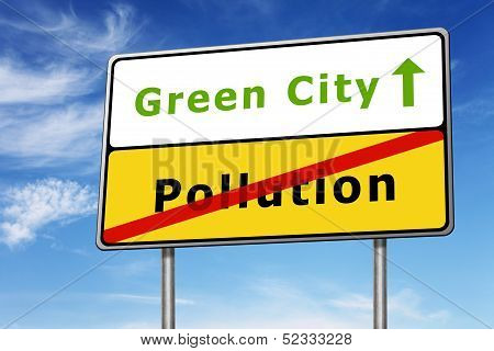 Green City Road Sign Concept