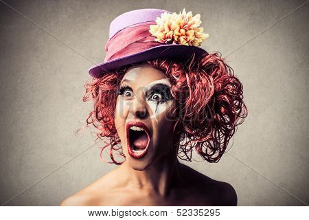 portrait of a clown screaming