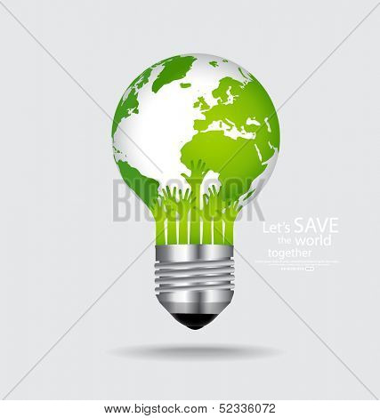 Save the world, Light bulb with globe inside. Vector illustration.