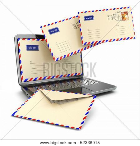E-mail concept. Laptop and letters on white isolated background. 3d
