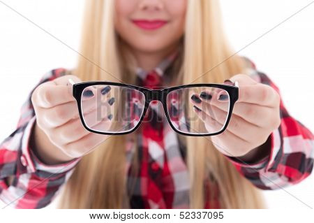 Modern Black Eyeglasses In Female Hands