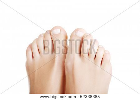 Beautiful female feet - close up on toes , isolated on white.