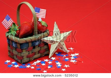 Fourth Of July Basket On Red