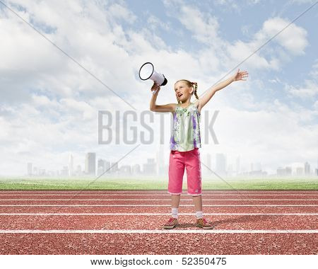 Image of little girl shouting into megaphone