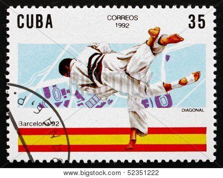 Postage Stamp Cuba 1992 Judo, 1992 Olympics, Barcelona