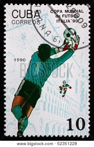 Postage Stamp Cuba 1990 Soccer Goalie In Action